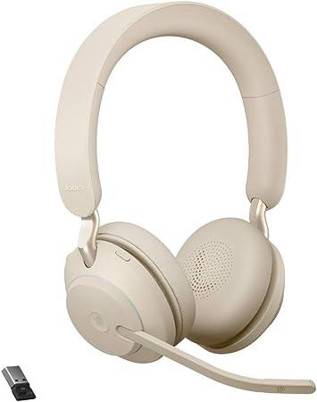 Jabra Evolve2 65 Wireless Pc Headset Noise Cancelling Microsoft Teams Zertifizierte Stereo Kopfhörer Mit Langer Akkulaufzeit Usb A Bluetooth Adapter Beige Elektronik
