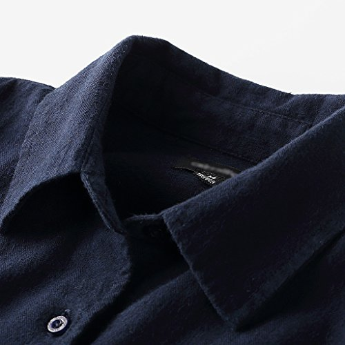 Autumn Winter Shirt Long-Sleeved Women's Long Coat Loose Cotton Blouse (Color : Dark Blue, Size : M) by LI SHI XIANG SHOP (Image #2)
