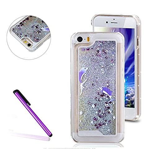 iPhone 5C Case,3D Liquid Brilliant Luxury Bling Glitter Liquid Floating Angle Girl Moving Hard Protective Case for Apple iPhone 5C (Two (3d Bling Cases For Iphone 5c)