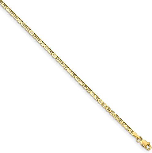 14K Gold Polished Anchor Link Anklet 10 Inches