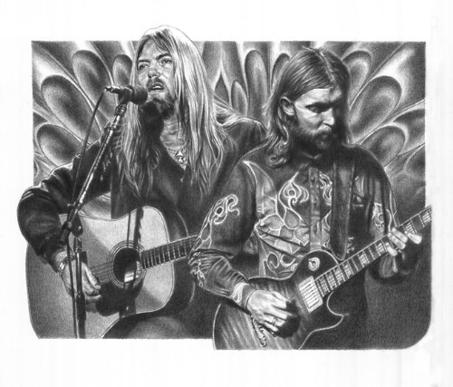 [Allman Brothers Band Original Sketch Prints - Poster Size - Black & White - Features Gregg Allman and Dickey Betts. Print of Highly-Detailed, Handmade Drawing By Artist Mike Duran] (Allman Brothers Posters)