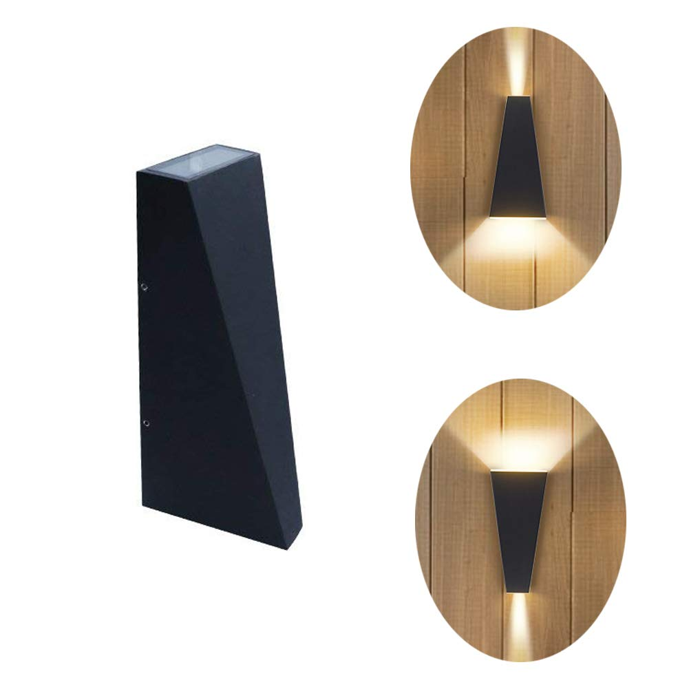Lianqi 6W LED Metal Aluminum Wall Sconce IP54 Waterproof Modern Rectangular Wall Lamp up and Down Design for Outdoors Outside Garden Hotel Gallery Decoration (Black Warm White)