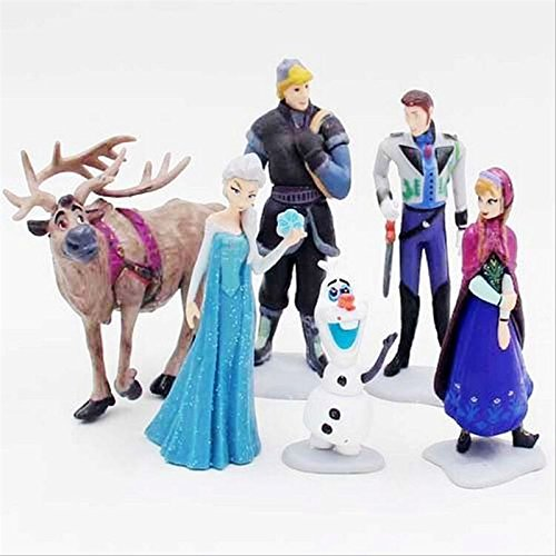 Hot Sell Kawaii Gifts Action Toy Figures 6 Pcs/Sets Elsa And Anna PVC Toys Anime Generation Model Toy Collection Gift