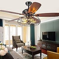 """Industrial 48"""" Fan Semi Flush Ceiling Light - MAYERHK Antique Vintage Retro Ceiling Fan Chandelier Cage Pendant Light in…"""