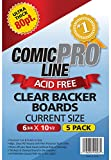 Comic Pro Line CLEAR Backer Boards Ultra Thick 80pt CURRENT Size Measures 6-3/4 x 10-1/2 [5 pack]