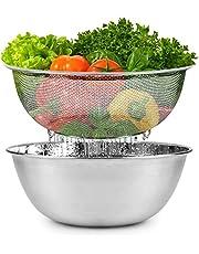 Set van 2 mengkommen pastazeef saladekom stapelbaar keukenzeef rijst waskom slacentrifuge vergiet vaatwasmachinebestendig multifunctionele kom set voor koken keuken restaurant (24 cm)
