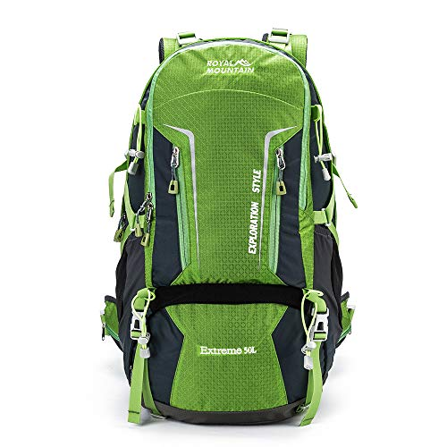 ROYAL MOUNTAIN Internal Frame Backpacks Hiking Backpack Waterproof Outdoor Sport Daypack with Rain Cover (50L)