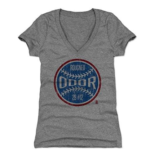 500 LEVEL Rougned Odor Women's V-Neck Shirt Large Tri Gray - Texas Baseball Women's Apparel - Rougned Odor Texas Ball B (Texas Rangers V Neck)