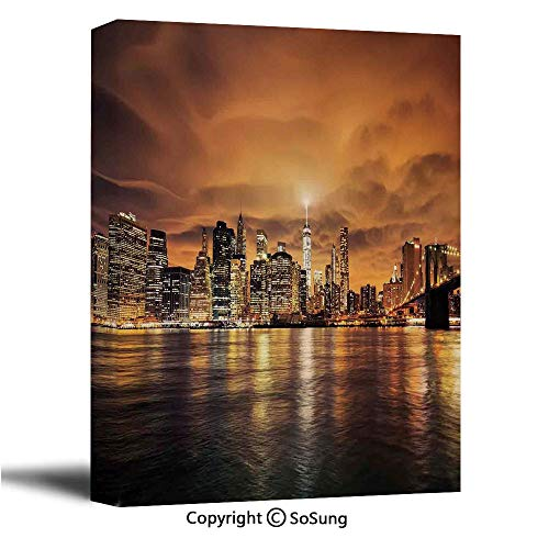 Cityscape Canvas Wall Art,Manhattan at Sunset New York from Brooklyn Reflections Seaport Scenery Print,Modern Living Room Office Wall Art Bedroom Decoration Ready to Hang,32x48 inch (Time Difference From New York To Las Vegas)