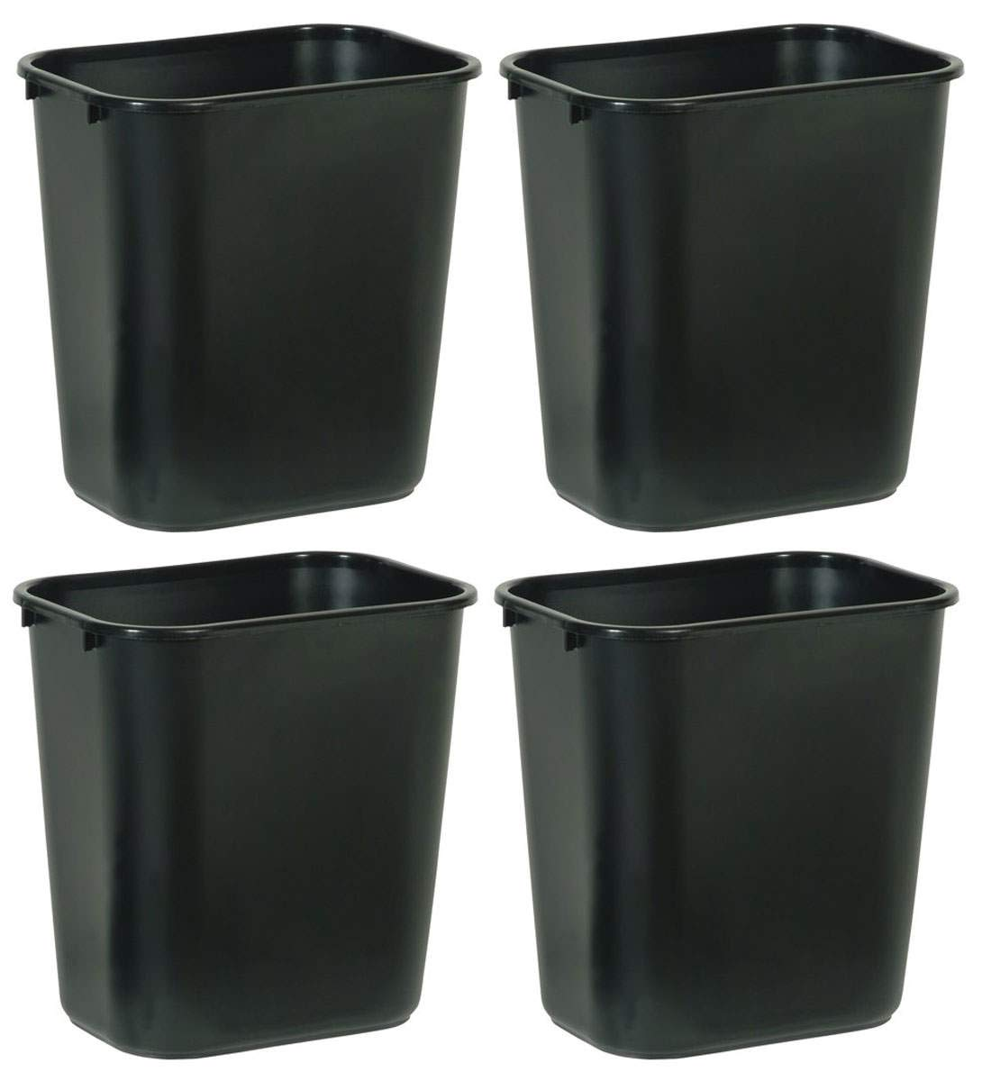 Rubbermaid Commercial Products NCVBHDGH FG295600BLA Plastic Deskside Wastebasket, 28-1/8-quart, Black, 4 Pack