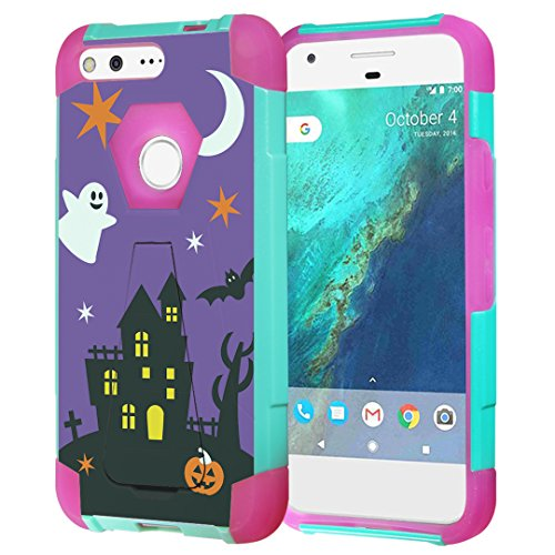 Google Pixel XL Case, Capsule-Case Hybrid Fusion Dual Layer Shockproof Combat Kickstand Case (Teal Green & Pink) for Verizon Google Pixel-XL 4G LTE - (Halloween)