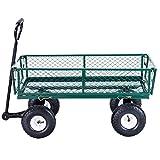 AK Energy Green Steel Lawn Garden Utility Cart Wagon Wheelbarrow Pull Handle Trailer Flatbed 330Lbs Capacity