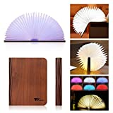Amzdeal Wooden Folding Book Light USB Rechargable, Magic LED Book Shaped Book Light Warm For Decor, RGB Color