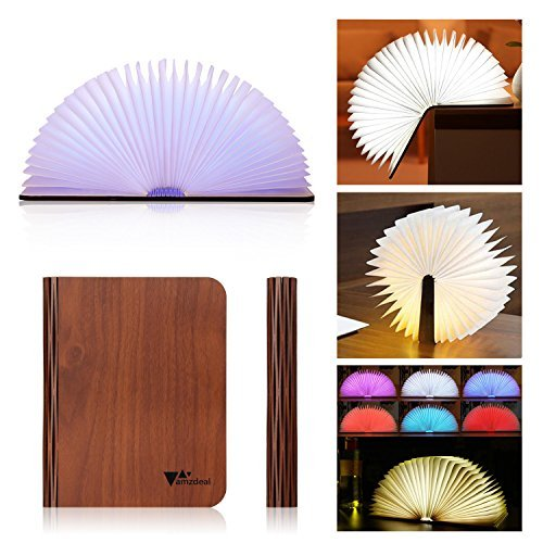 Wooden Folding Book Light USB Rechargable, Magic LED Book Shaped Book Light Warm For Decor, RGB Color