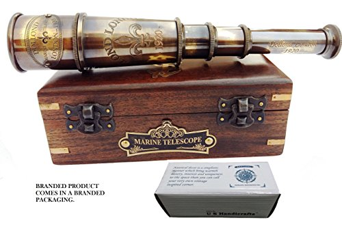 DOLLOND London 1920 Marine Collectible Décor Nautical Spyglass Antique Mounted Solid Brass 15 Inch Pirate Telescope with Wooden corrugate Box. from US HANDICRAFTS