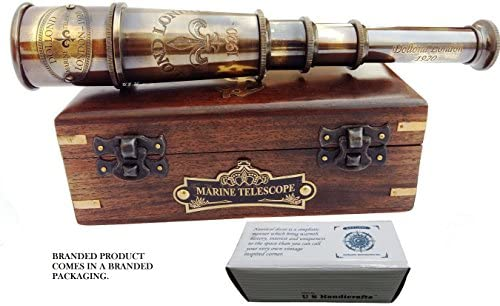 DOLLOND London 1920 Marine Collectible Décor Nautical Spyglass Antique Mounted Solid Brass 15 Inch Pirate Telescope with Wooden and Branded corrugate Box.