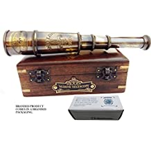 DOLLOND London 1920 Marine Collectible Décor Nautical Spyglass Antique Mounted Solid Brass 15 Inch Pirate Telescope with wooden box.