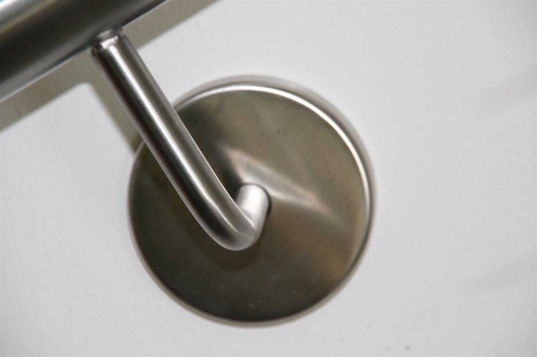 Edelstahl Handlauf V2A 42,4mm 240K geschliffen Wandhandlauf mit gerader Endkappe 2300 mm