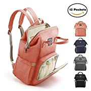 Diaper Bag Backpack, Large Capacity for Baby Care, Individual Functional Pockets & Fashion Design, Wide Open Design and Waterproof Fabric - Black