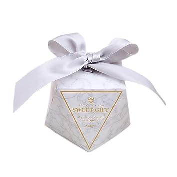 JZK 50 Forma diamante cajas favor caja caramelos dulces confeti caja con cintas para boda cumpleaños bautizo comunión navidad baby shower fiesta ...