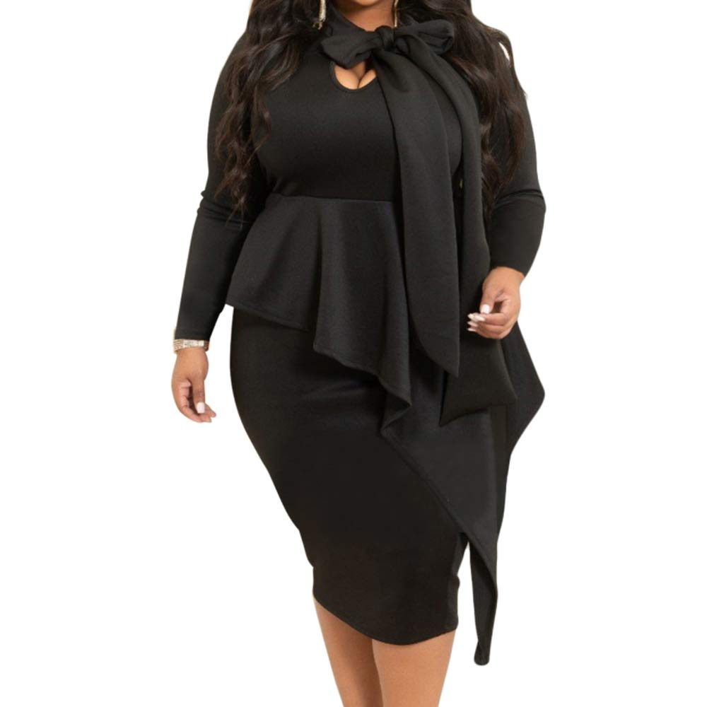 53ba3e2e606 My Sky Women s Plus Size Long Sleeve Peplum Tie Neck Bodycon Pencil Midi  Dress at Amazon Women s Clothing store
