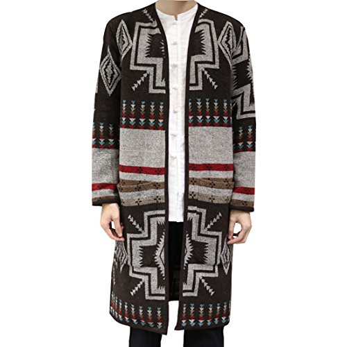 Hzcx Fashion Men's Wool Open Front Fashion Cardigan Long Trench Coat DSC229-F17-100-BR-US L TAG 2XL (Long Mens Cardigan)