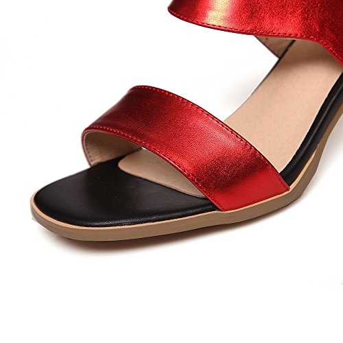 Open Sandals Solid Womens Toe Leather Red Kitten Buckle AmoonyFashion Soft Heels TxwwI