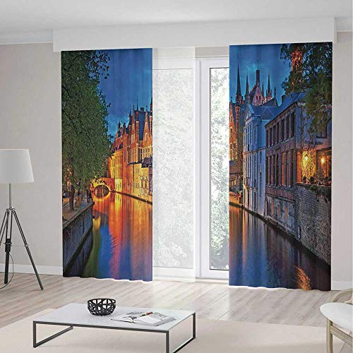 (Medieval Decor Decor Curtains,Night Shot of Historic Middle Age Building along the River in Bruges Heritage Old Town Photo,Window Drapes 2 Panel Set, Living Room Bedroom,197 W 84 L,Multi)