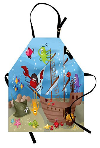 Star Fish Costume (Ambesonne Pirate Apron, Cartoon Ship Under The Sea Discovered by Sea Animals Treasure Chest Marine Adventure, Unisex Kitchen Bib with Adjustable Neck for Cooking Gardening, Adult Size, Red)