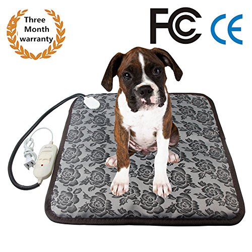 Electric Pet Heating Pad, Dog Cat Heating Mat Waterproof Pets Heated Bed Adjustable Dog Cushion Bed Warmer Mat With Temperature Controller and Chew Resistant Steel Cord(2018 New Upgraded)