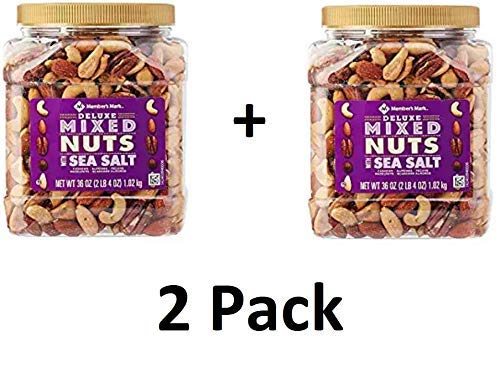 Deluxe Roasted Mixed Nuts with Sea Salt 2 pack by 34 oz by Member's Mark