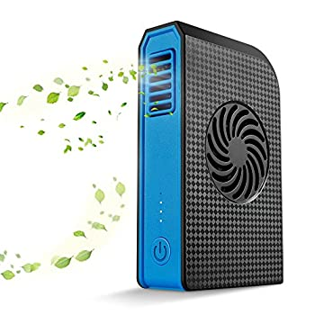 Small Personal Fan with 6000mAh Power Bank, Mini Battery Rechargeable USB Fan with Portable Phone Charger Handheld Air Conditioner Summer Cooler Bladeless No Leaf Fan (Black)