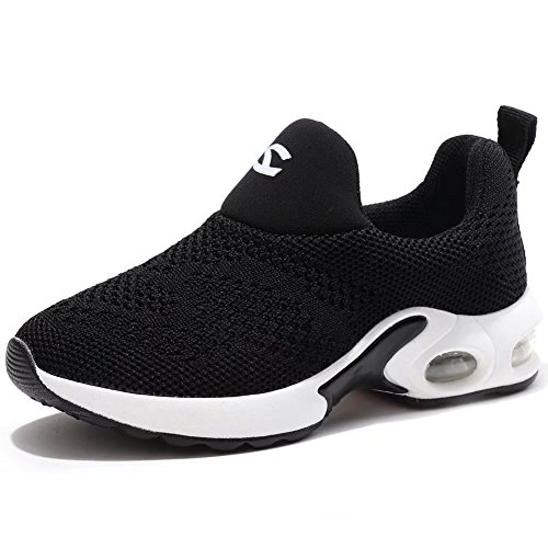 Boys Tennis Shoes - BODATU Kids Boys Girls Running Shoes Comfortable Fashion Light Weight Slip on Black Size 33