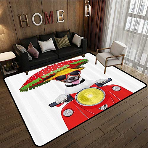 Living Room Rugs,Animal,Dog with a Hat and Sunglasses Driving Motorcycle Under an Umbrella Funny Holiday Image,Red 63