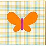 Plaid Butterfly I by Linda Woods Canvas Art Wall Picture, Museum Wrapped with Khaki Sides, 24 x 24 inches