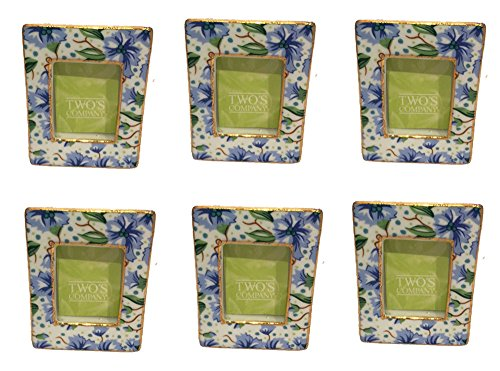 Two's Company Chintz Pattern Mini Frame Placecard Holders (Set/6) (Blue Chintz)