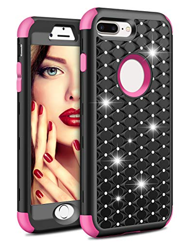 Vofolen Case for iPhone 8 Plus Case iPhone 7 Plus Case Bling Crystal Rhinestone Heavy Duty Protection Armor Hybrid Protective Hard Shell Rubber Cover + Front Bumper for iPhone 8 Plus 7 Plus Black Rose