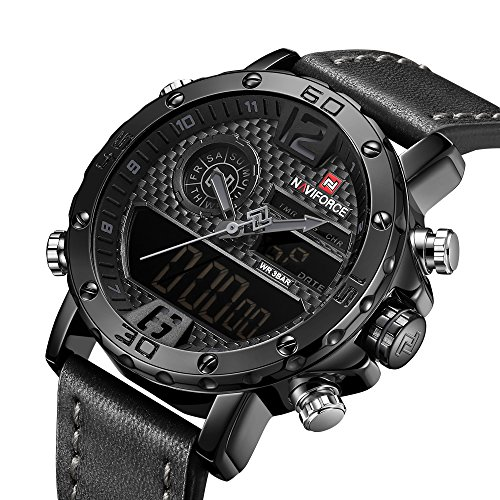 World Time Digital Alarm Chronograph - Analog Digital Watch Men Waterproof Sport Military World Time Dual Display Countdown Black Wrist Watch Leather