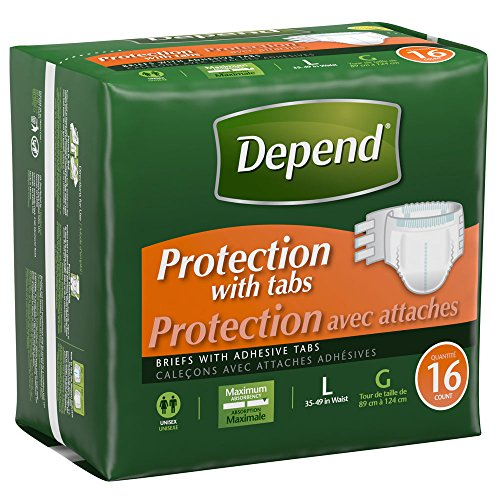 [Depend Protection Briefs with Tabs, Large, 16 Count] (Fitted Maximum Protection Briefs)