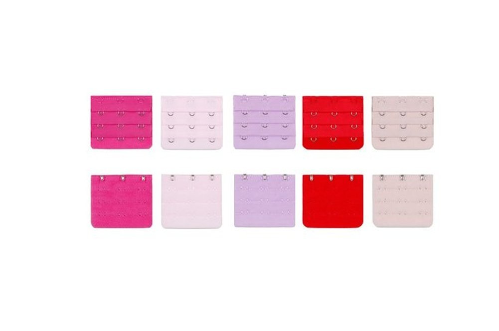Women Adjust Polyester Bra Clip Extender Straps 3 Rows Assorted Colors Pack of 10 2 Hooks