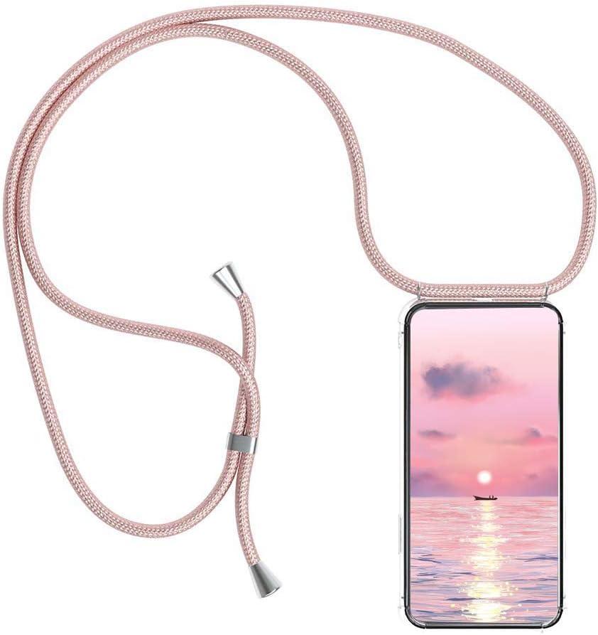 Funda para Xiaomi Redmi Note 10 Pro 4G (6.67'') con Cuerda, Carcasa Transparente TPU Suave Silicona Case con Correa Colgante Ajustable Collar Correa de Cuello Cadena Cordón Anti-Choque Case, Oro Rosa