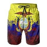 Adults Drawing Ecuador Flag Art Hawaiian Shorts Drawstring Quick Dry Board Shorts