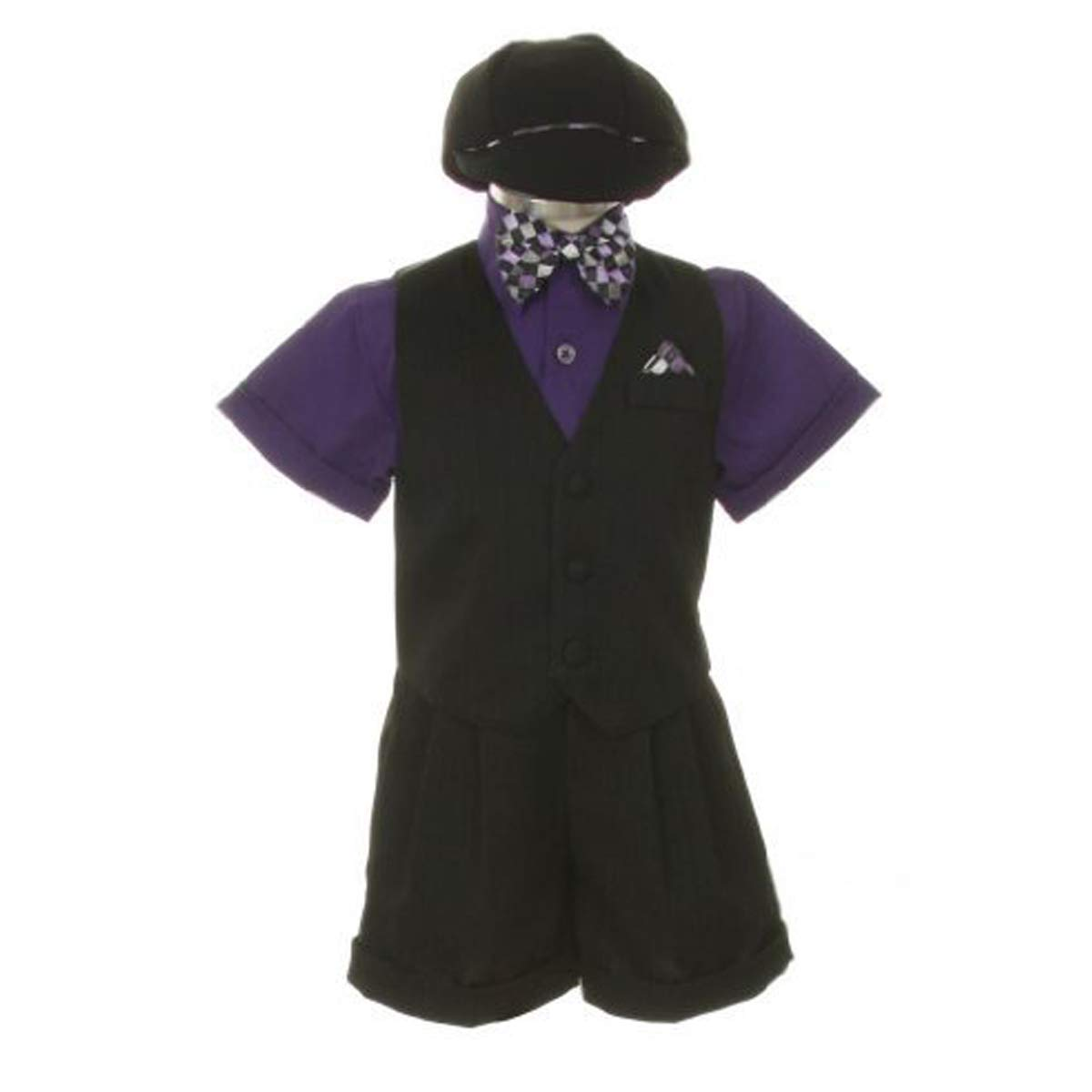 Dress Shorts Suit Tuxedo Vest Outfit Set-Infant Baby Boys /& Toddler,Black-Purple