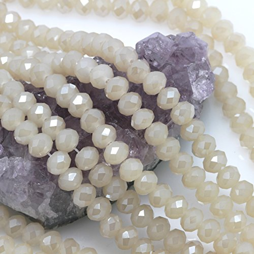Faceted Agate Beads (Chinese Crystal Glass Beads Faceted Rondelle 8mm Light Gray Agate [18 inch strand] (3646))