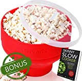#2: Silicone Microwave Popcorn Popper / Popcorn Maker, Red Collapsible Popcorn Bowl with lid for home - BPA free - for Healthy Homemade Butter & Oil-Free Recipes - by Chef's Area