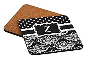 "Rikki Knight Initial ""Z"" Black & White Damask Dots Design Cork Backed Hard Square Beer Coasters, 4-Inch, Brown, 2-Pack"