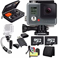 GoPro HERO+ LCD + Steadicam Curve for GoPro HERO Action Cameras (Silver) + 64GB Memory Card + Case for GoPro HERO4 and GoPro Accessories + 6pc Starter Kit Bundle