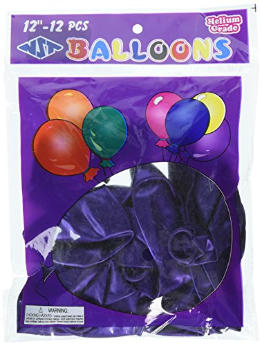 Homeford Premium Latex Balloons Plain Color, 12-Inch, Purple,