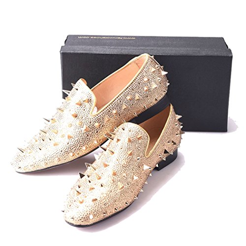 ebf0b83b0727 FERUCCI Men Gold Spikes Slippers Loafers Flat with Crystal GZ ...
