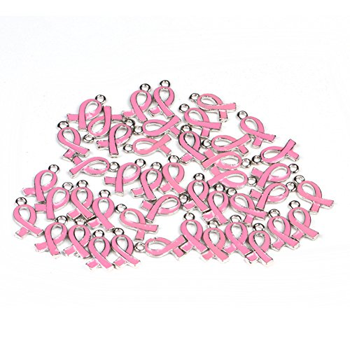 15x10mm Pink Ribbon Pendant Breast Cancer Awareness Charms Beads Dangle Pendant accessories 20pcs (Pink Ribbon Bracelets)